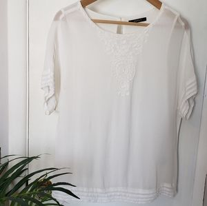 Esprit/Semi Sheer White Blouse Front Embroidery